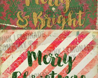 Christmas Digital Social Media Graphics Commercial Use Ok Vintage Inspired Holiday