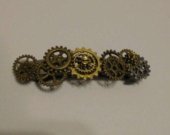 Steampunk gear barrette