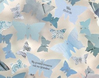 Personalised art. Pale blue butterflies. 3D butterflies art. Wedding present. Birthday gift. Butterfly decor.