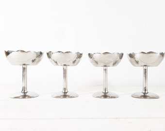 Stainless Steel Coupe Champagne Glass, Inox Champagne Coupe Set,  French Silverware, Large Ice Cream Bowls, Parisien café, Footed Bowls,