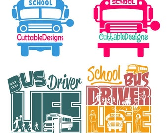 School Bus Driver Cuttable Design PNG DXF SVG & eps File Silhouette Designs Cameo