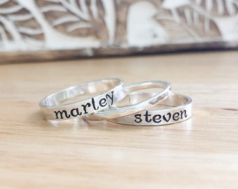 Hand Stamped Ring -Sterling Silver Stacking Rings -Silver Name Rings -Stacking Name Rings -Personalized Ring-Wife Birthday Gift -Valentine's