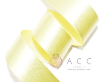 5Yards Pale Yellow Single Faced Satin Ribbon - 5mm(2/8''), 10mm(3/8''), 15mm(5/8''), 25mm(1''), 40mm(1 1/2''), and 50mm(2'')