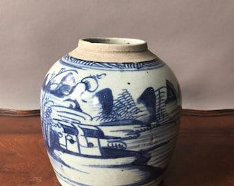 Antique China Blue ginger jar