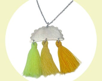 Yellow Medusa Tassel Pendant Statement Sterling Silver Necklace with Stainless Steel Chain