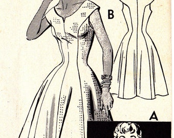 FF 1950s Misses Flare Princess Style Dress, Button Front Bolero Jacket Vintage Sewing Pattern, Mail Order 2079, Size 14, Bust 32, UNCUT