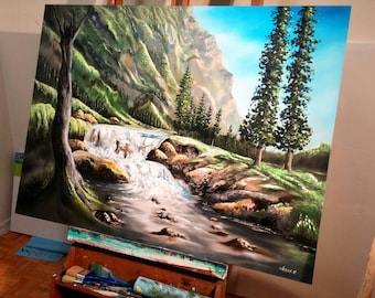 """Nature's Waterfall Oil on Canvas Painting 48x36"""""""