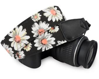 DSLR / SLR / Instant Camera Neck Shoulder Strap, Black White Flower Floral Camera Neck Shoulder Belt