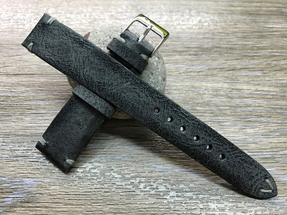 Leather Watch Strap, Leather Watch Band, Vintage Black watch strap, Vintage watch band, 18mm/19mm/20mm lug watch band, FREE SHIPPING