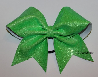 Neon Green Glitter Cheer Bow - allstar - by Funbows !