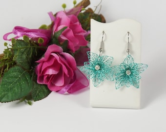 Earrings turquoise, earrings hanging, earrings wire, earrings flowers, gifts for women, fashion jewelry for teenagers, wedding jewelry