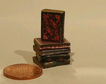 dolls house miniature vintage style job lot of 5 Aged books with print