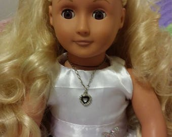 AG Black Dangling Heart Necklace for 18 inch doll, American Doll Jewelry