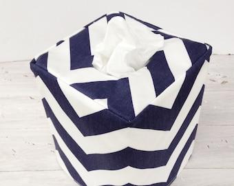 Navy and White Chevron reversible tissue box cover