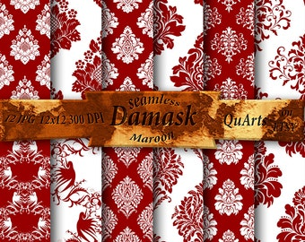 Maroon Damask Download Scrapbooking: Printable Paper Pack with Dark Red Ornate Filigree Patterns, rust damask - Instant Download QuartCrafts