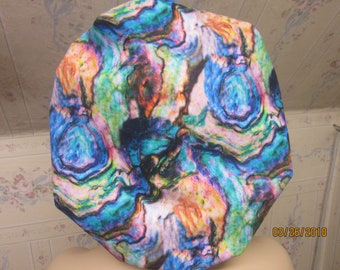 WATER color look -- BOUFFANT scrub  hat / medical / sugical / Adjustable--handmade-comfort band