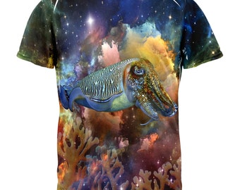 Cuttlefish IN SPACE Galaxy All Over Adult T-Shirt