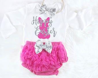 Hoppy Easter Babys First Easter Baby Easter Outfit Baby Girls First Easter Baby Easter Dress Baby Girl Easter Outfit Pink and Silver Outfit