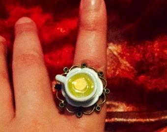 Everything Stops For Tea Adjustable Ring (Lemon Slice)