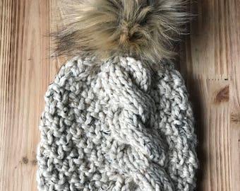 JUNAEU BEANIE || Chunky Knit Beanie || Pom Pom Beanie