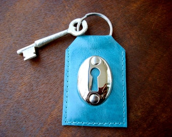 Turquoise Leather Keychain with Keyhole and Vintage Skeleton Key - Blue Glazed Leather Key Fob