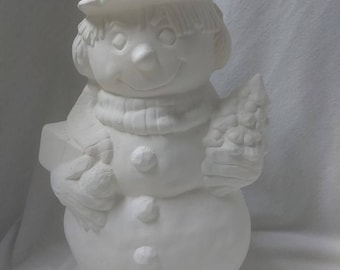 """Frosty the Snowman 9"""" Ceramic Bisque, Ready To Paint"""