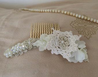 Bridal comb, Lace decorative Comb, Beige floral Bridal Hair comb, crochet Wedding Hair Accessory, Boho wedding hair accessories.
