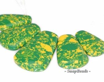 Matrix Turquoise Gemstone Green Yellow Loose Beads Graduated Set 5 Beads (90114101-108)