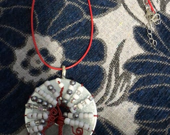 red & white tree necklace