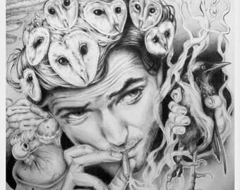 Digital print of original illustration 'Smoking Owls', A3 size