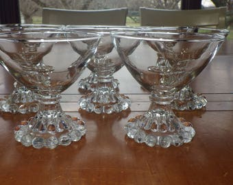 Clear Boopie sherbets champagne glasses by Anchor Hocking circa 1950 8 5 oz stem