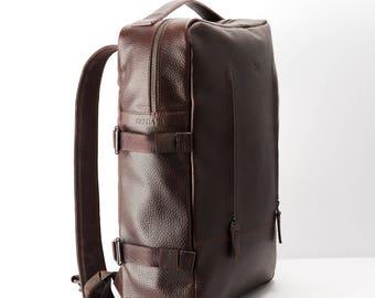 Dark Brown Leather Backpack, 15-inch Laptop Rucksack, Back To School. Travel Designer Bag. Personalized Men Gift. Mens Bags. Custom Monogram
