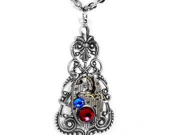 Steampunk Jewelry Vintage Necklace Pinstripe Watch ORNATE Filigree Dangle Blue Red Crystals Mother Wife Gift - Jewelry by Steampunk Boutique