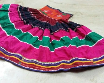 Exotic Indian Kutch banjara Tribe Traditional Hand Embroidery Belly Dance Ghagra Skirt Long Dress ATS