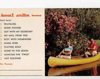 Vintage Couple on a Boat Postcard | Traveling, Gone Fishing, Busy, Hang Over,  I Haven't Written Because... | Paper Ephemera