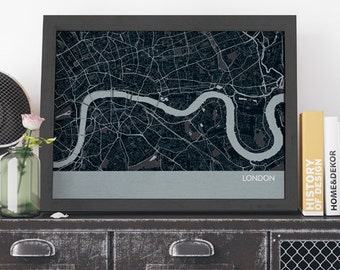 London City Street Map, Travel Print - gift, wall decor, map, travel, free shipping, travel map, gift for him, gift for her, living room