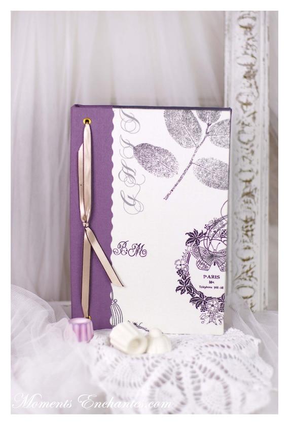 """Carnet des invites  """"L'art de vivre à la française """" Butterfly Paris  Guest book"""