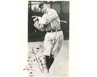 Ty Cobb Signed Inscribed 2.75 x 4.25 Black and White Photo COA