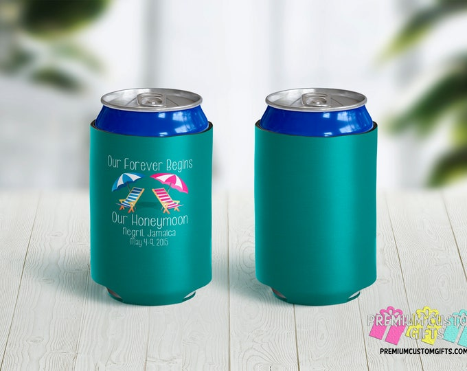 Honeymoon Can Coolers - Personalized Can Coolers - Bachelorette Can Cooler - Custom Coolies -  Custom Party Favors - Mr and Mrs Can Coolers