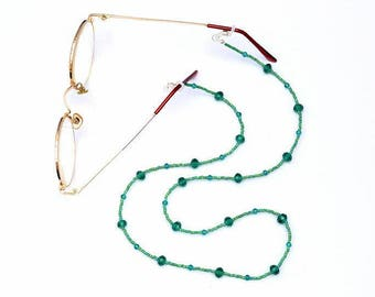 Beaded Glasses Chain, Beaded Spectacle Chain, Green Spectacle Holder, Spectacle Cord, Eyeglass Holder, Green Glasses Holder, Eye Glass Chain