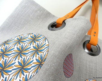 Tote bag in natural linen with orange & turquoise