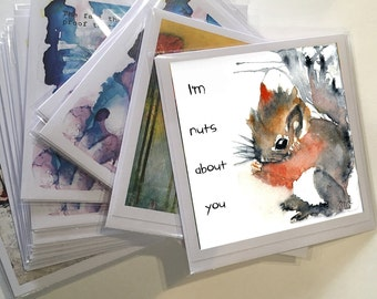 Art Printed Greeting Card, Squirrel Card, Baby Squirrel, Blank Note Card, All Occasion Card, Original Art Print, Inspirational Quote Card,