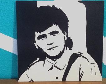 Daniel balavoine portrait original stencil painting