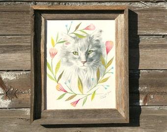 Kitty, Barnwood Framed Original Painting, watercolor, cat, acrylic, farm, flowers