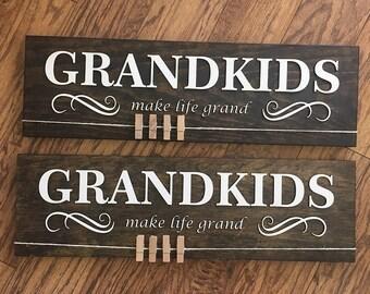 Grandkids Wood Photo Sign | Photo Hanger for Grandparents | Grandparent Gifts