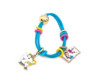 Vintage Disney Beauty and The Beast Bracelet for Child Authentic Walt Disney Jewelry Belle and Mrs Potts Charms