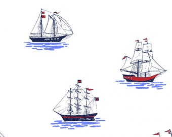 My Favorite Ship in Sail Blue Fabric from Best of Sarah Jane for Michael Miller Fabrics (Out to sea reprint)