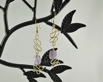 Wire Wrap EARRINGS graphic gold and Pearl Amethyst