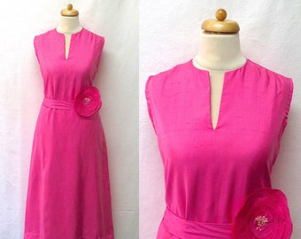 1960s Vintage A and O Couture by Artin Silk Dress / Rose Pink Silk Flower & Sash Belted Dress