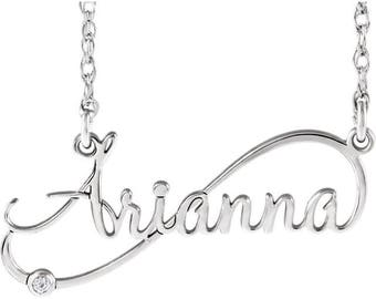 Custom Sterling Silver .015 CTW Diamond Infinity-Inspired Script Nameplate Necklace, 16 or 18 Inches Available